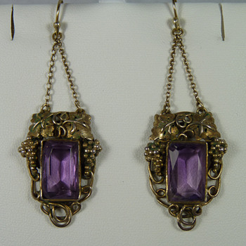 New Zealand Arts & Crafts Jeweller - Elsie Reeve - Amethyst Earrings - Arts and Crafts