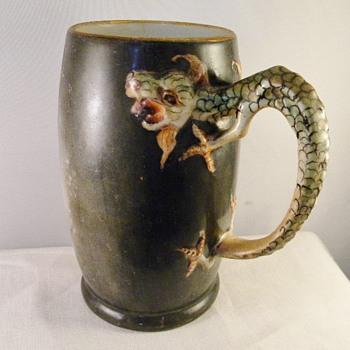 Antique Dragon Handle JP Limoges Japanese Mug Tankard (1890-1935) - Pottery