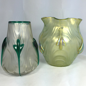 "Two Loetz ""Coppelia"" Vases. Circa 1904. PN II-1746 and PN II-1898 - Art Glass"
