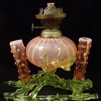 Antique Bohemian Art Glass Oil Lamp produced for the English Market - Art Glass