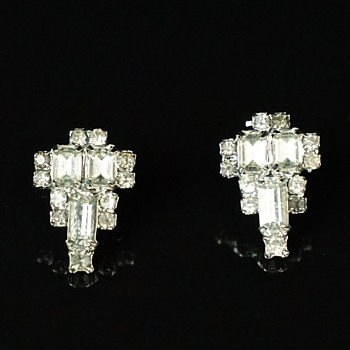 Pr of Rhinestone Pierced Earrings  - Costume Jewelry