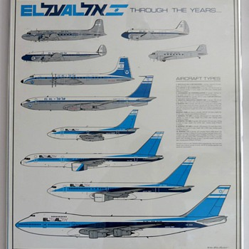 "EL AL ""Through The Years"" Fleet Poster 1990  - Posters and Prints"