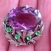 Bernard Instone Silver Amethyst and Green Paste Brooch