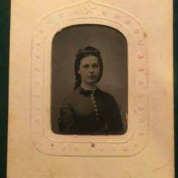 Clara Barton tintype on patriotic frame  - Military and Wartime