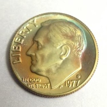 1977 D Roosevelt Dime with Rosy Toning - US Coins