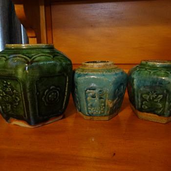 Three Celadon glazed hexagonal ginger jars Australian Goldfields 1800's - Asian