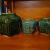 Three Celadon glazed hexagonal ginger jars Australian Goldfields 1800's