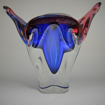 "Joseph Hospodka ""Chribska bohemian/Czech art glass Vase, Circa 1950-70  - Art Glass"