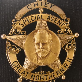 "14k gold Great Northern Railway ""Chief Special Agent badge  - Railroadiana"