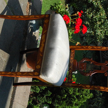 Mahogany lyre back marquetry chair - Furniture
