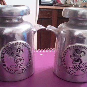 Solid Pewter Mickey Mouse and Donald Duck Milk Jug - Kitchen