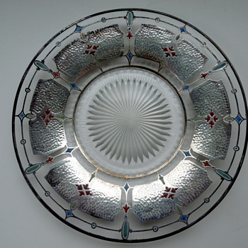 Art Deco Glass Plate Silver Overlay and Painted - Art Deco