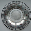 Art Deco Glass Plate Silver Overlay and Painted