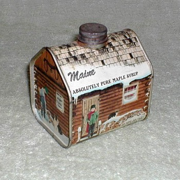 """Maine Maple Syrup"" Log Cabin Tin - Advertising"