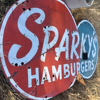 Sparkys Hamburgers Porcelain Sign - Signs