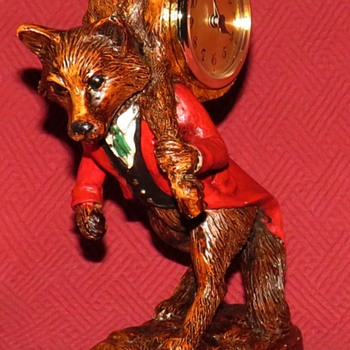 Traveling Fox Mantel Clock By Oklahoma Casting, USA - Animals