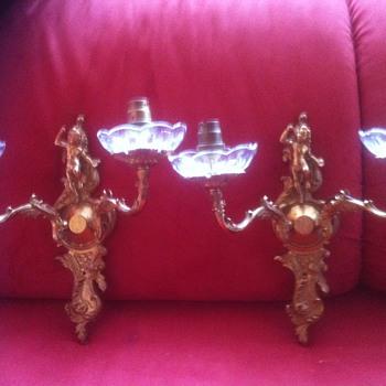 cherub wall lights with glass scones