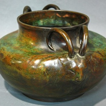 Patinated Bronze Ram Vase - Art Nouveau