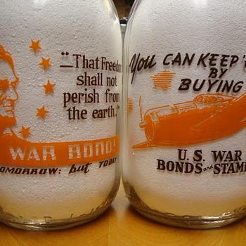1/2 Gallon Alamito War Slogan Milk Bottles...... - Bottles