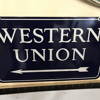 Western Union porcelian sign  - Signs