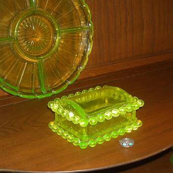 Vaseline Glass Boyd Cigarette Box - Glassware