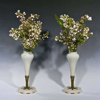 Pair of Pale Pink Opaque Glass MANTLE FLOWER VASES