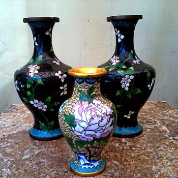 """A Pair Plus One"" Cloisonne Vases /Marked China /Unknown Age - Asian"