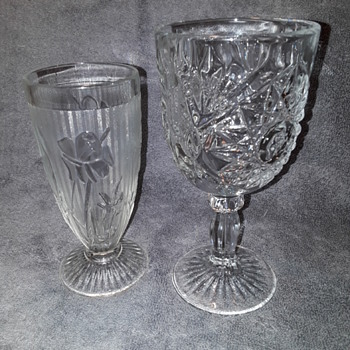 two pressed glass 'goblets' - Glassware