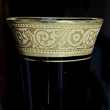 Gilded Black Glass Bud Vase - Art Glass