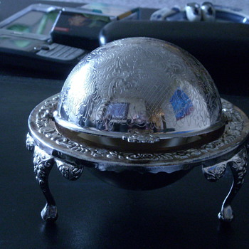 Silver Plated 3 legged Globe Butterdish* - China and Dinnerware