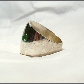 Vintage Sterling Silver Ring - Wide Band - Mexico