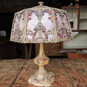 Pink Slag Glass Lamp.