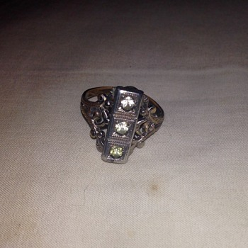 Art Deco-ish diamond (?) ring - Thrift store find for $1 - Costume Jewelry