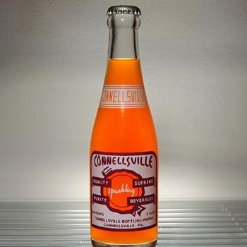 1961 Connellsville Sparkling Beverages Orange Soda Bottle Glenshaw Glass Vintage Pennsylvania Full Sealed Unopened ACL - Bottles