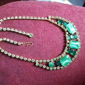 Lovely Vintage Light and Dark - Moonstone and Green Rhinestone Necklace - Costume Jewelry