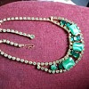 Lovely Vintage Light and Dark - Moonstone and Green Rhinestone Necklace