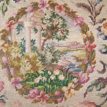 vintage embroidered  panel farm estate find - Sewing