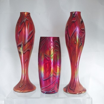 Rare Nouveau Harrach Red Fuschia White Iridescent Trio of Vases  - Art Glass