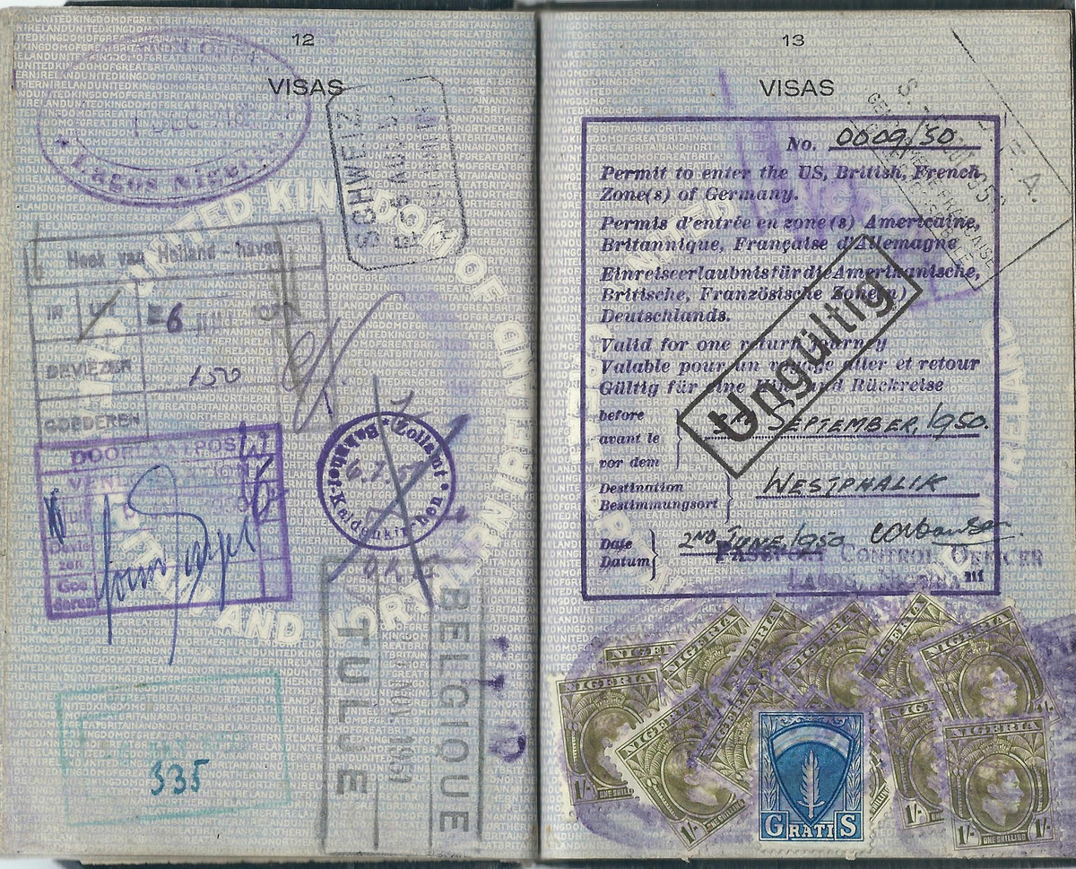 Passport with a 1950 AMG visa issued at Nigeria  239cb3e2aa