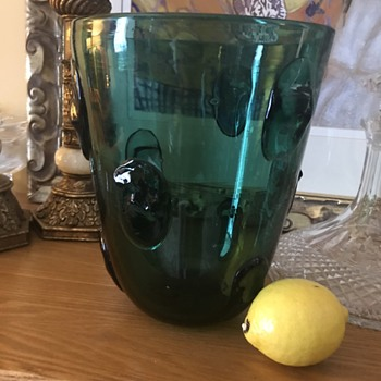 Unusual Mid Century Glass Vase/Bucket Empoli? - Art Glass