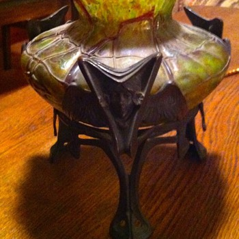 Our favorite Art Nouveau Bohemian footed vase . - Art Glass