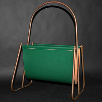 carl auböck green leather magazine rack - Mid-Century Modern