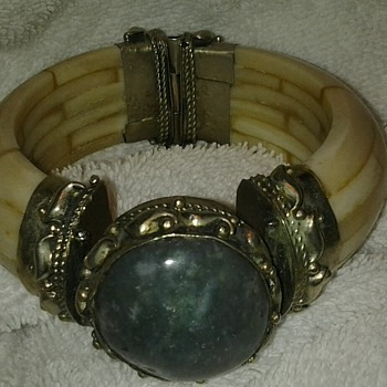 Antique Hinge Faux Braclet Ivory  - Fine Jewelry