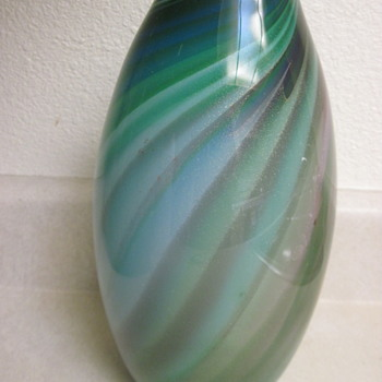 "Gorgeous Heavy Blown Signed 11"" Swirl Gold Flecked Vase - Art Glass"
