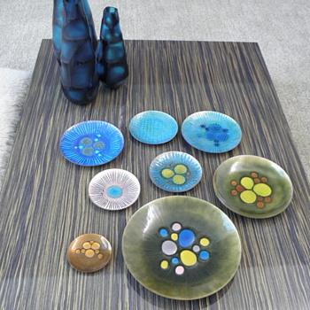 mid century American enamel & mid century studio pottery - Pottery