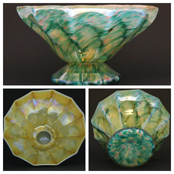 Early 20thC Art Deco Bohemian Iridescent Scaled Art Glass Bowl - Art Glass
