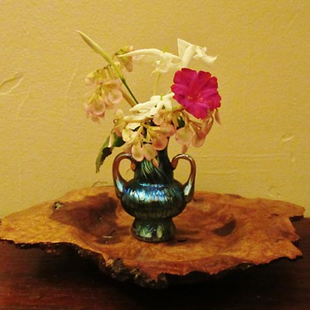 Loetz miniature vase in Creta Papillon with Silberiris handles - Art Glass