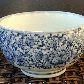 Pinched Rim Blue And White Bowl - Asian