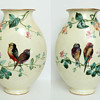 Mirrored Pair of Baccarat Opaline Vases with Birds