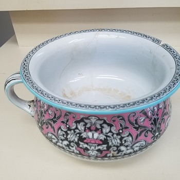Unique Pink Ceramic Chamber Potty Pot and Wash Bowl;   Stamped:  Raleigh    Help Identify, Plz - Pottery